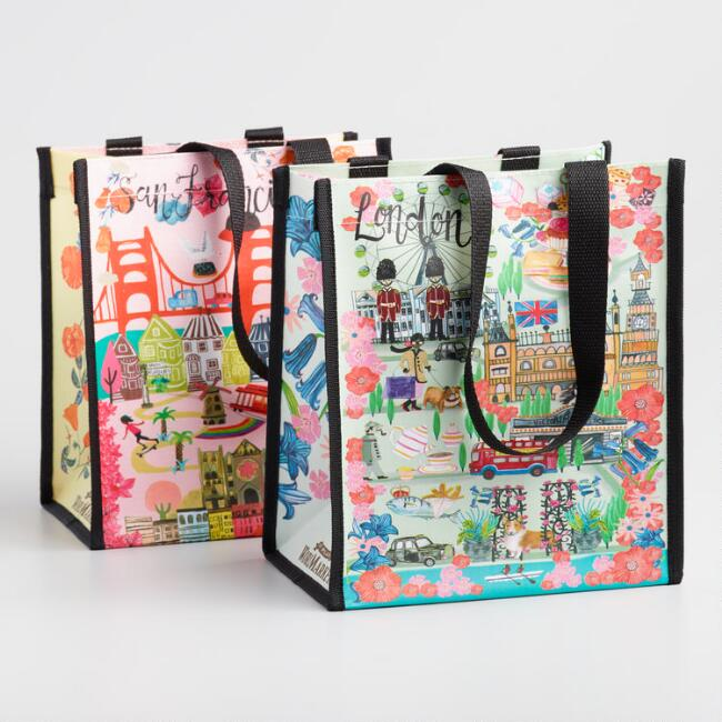 London and San Francisco Scenes Small Tote Bags Set of 2