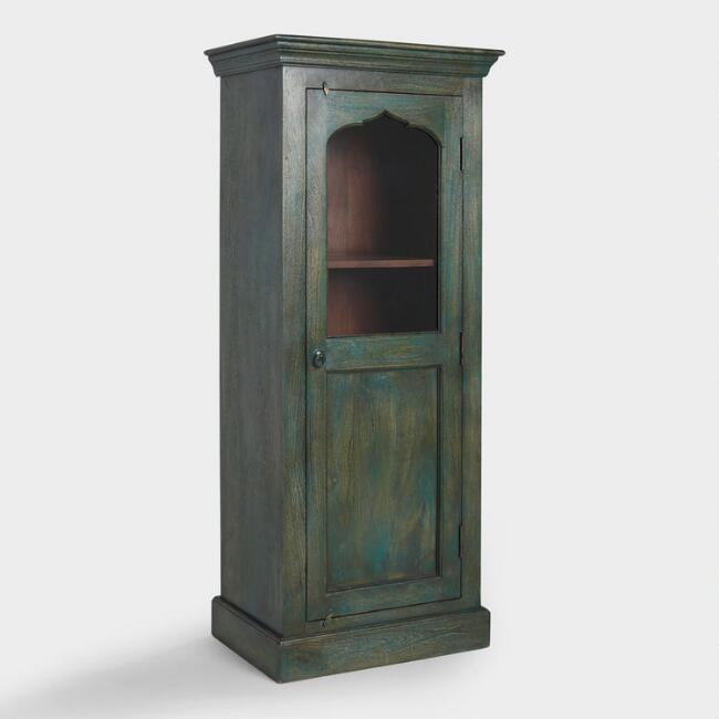 Teal Arched Wood and Glass Cabinet