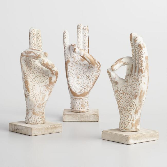 Knowledge, Earth and Life Buddhist Mudra Hands Set of 3