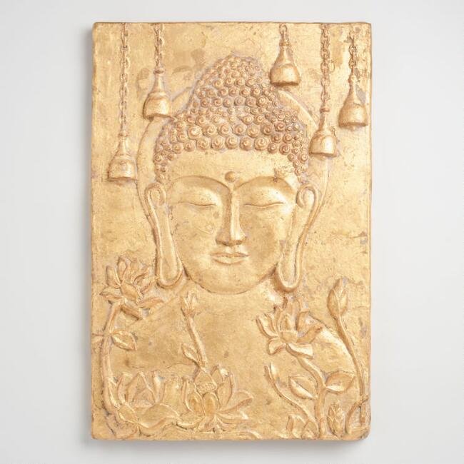 Gold Buddha and Lotus Flower Wall Hanging