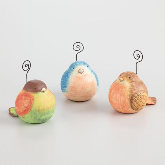 Painted Wood Bird Cardholders Set of 3