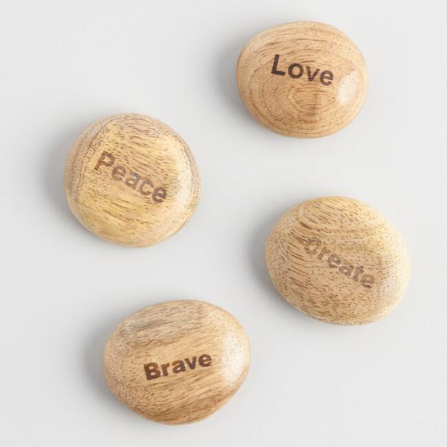 Love, Peace, Brave and Create Wooden Stones Set of 4
