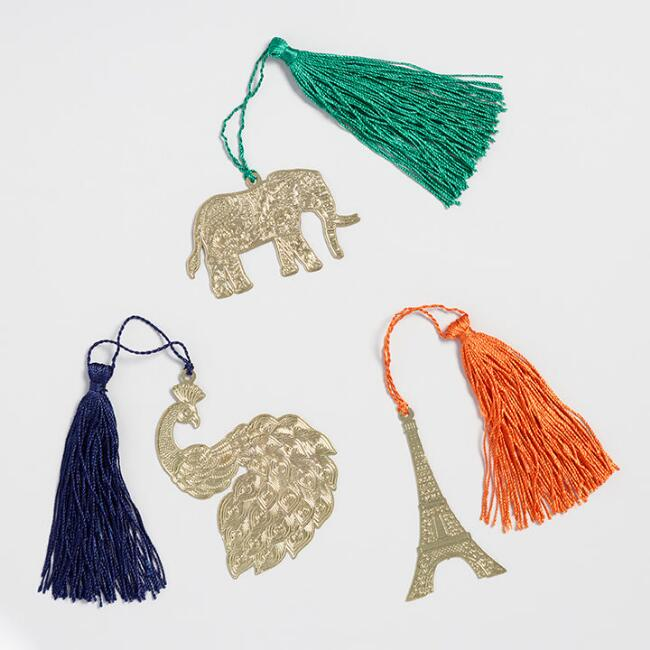 Elephant, Peacock and Eiffel Tower Bookmarks Set of 3
