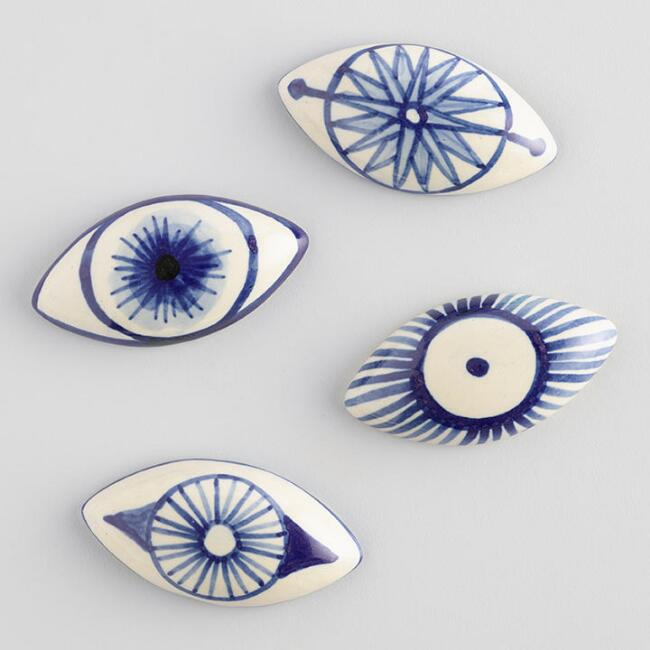 Painted Ceramic Evil Eyes Set of 4