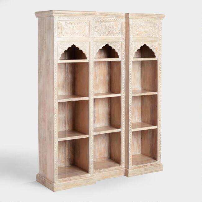 Whitewash Carved Wood Peacock Bookshelf