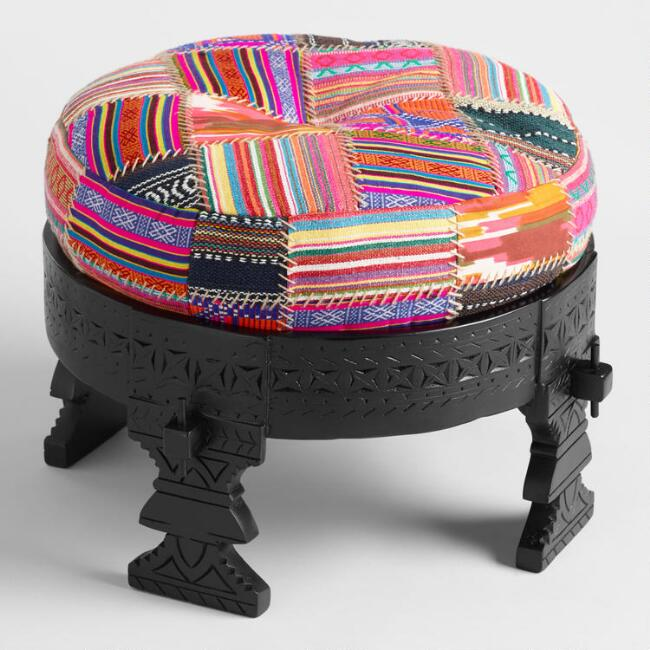 Black Bajot Stool With Pouf