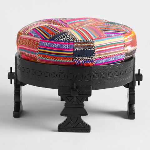 Black Bajot Stool With Pouf World Market
