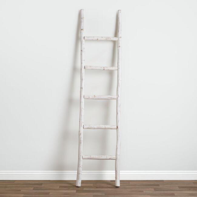 Whitewash Wood Ladder Decor
