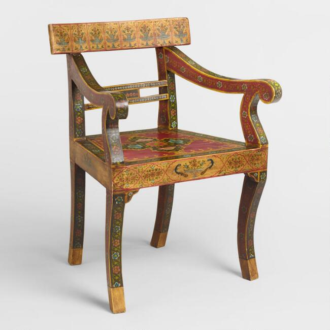 World Market Red Leather Chair: Red Painted Mughal Chair