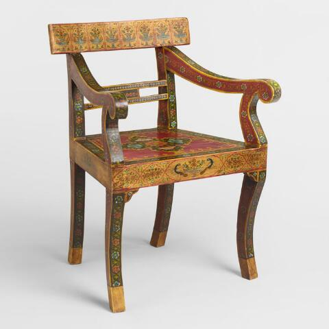 Red Painted Mughal Chair