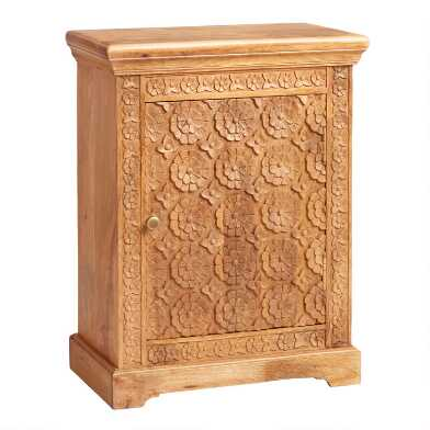 Natural Floral Carved Wood Cabinet