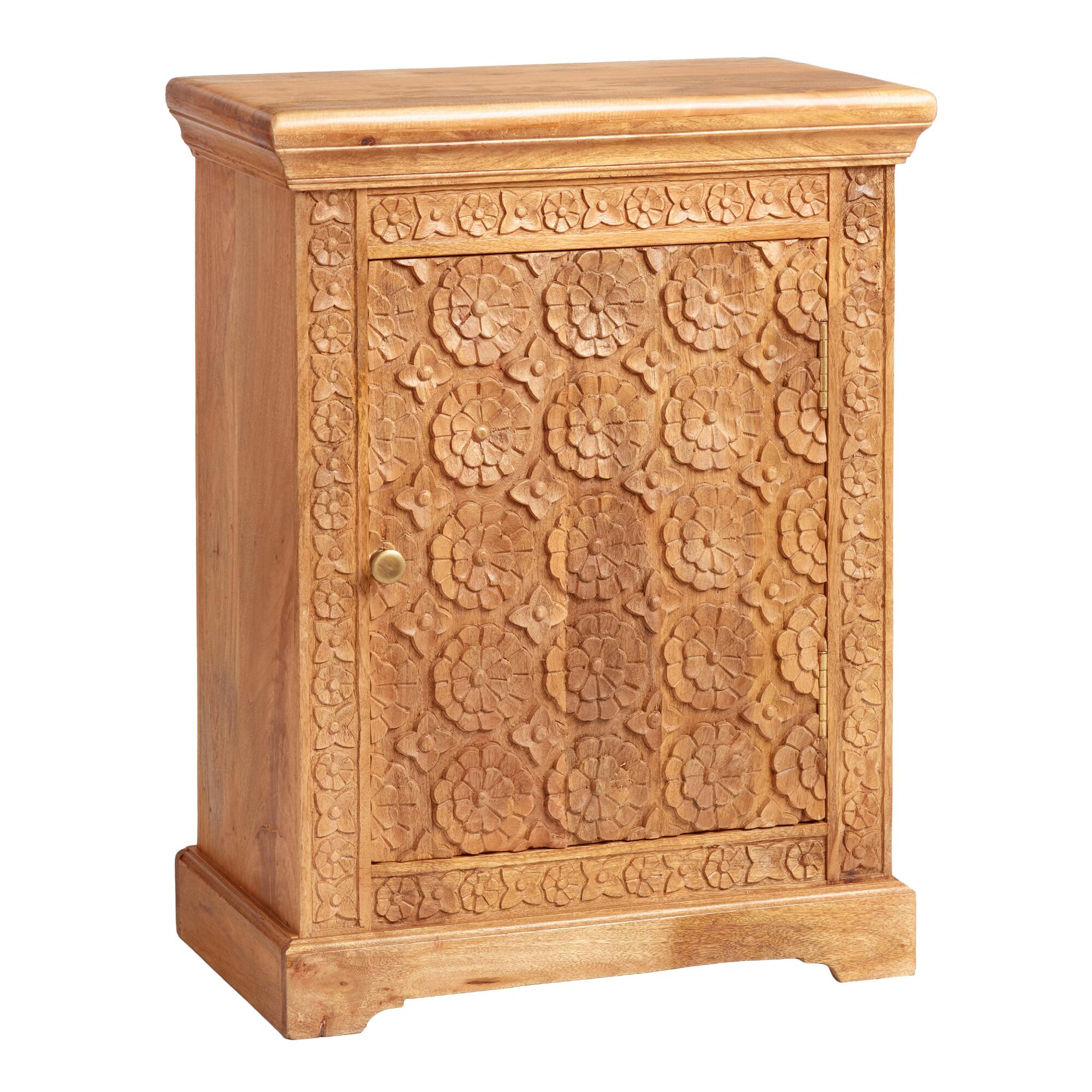 Natural Floral Carved Wood Cabinet by World Market