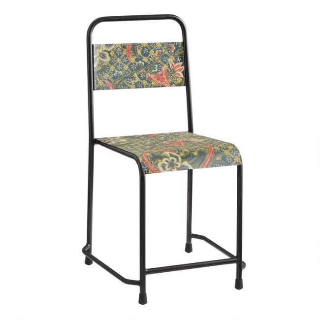 Blue Batik Metal Chair