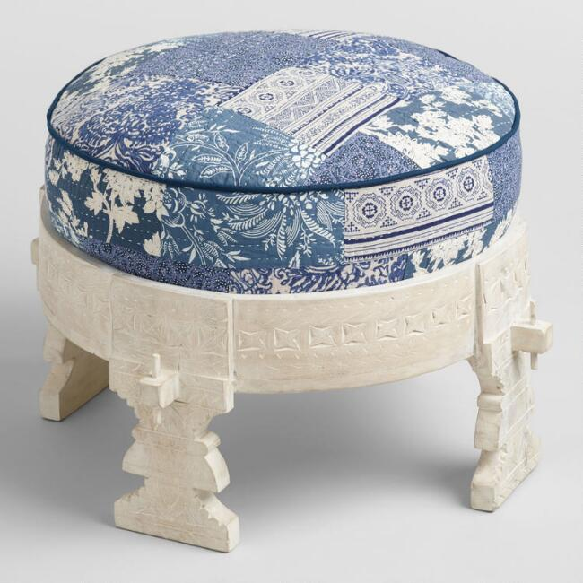 Whitewash Bajot Stool with Pouf