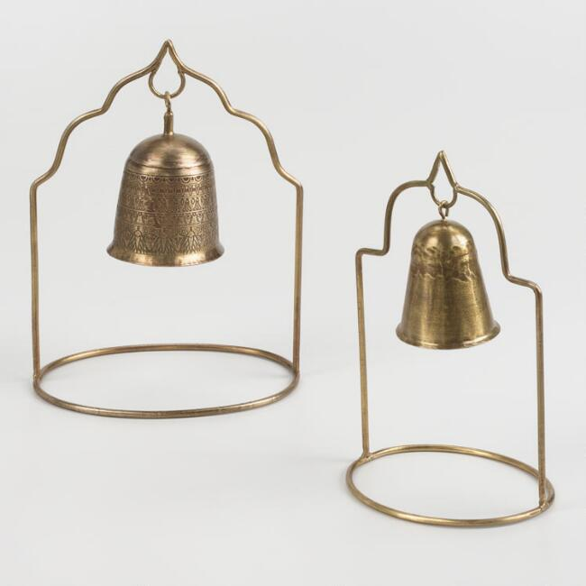 Antique Brass Bell on Stand