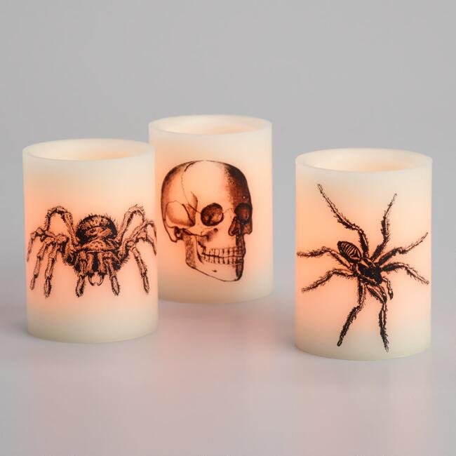 Spiders and Skull Flameless LED Pillar Candles Set of 3