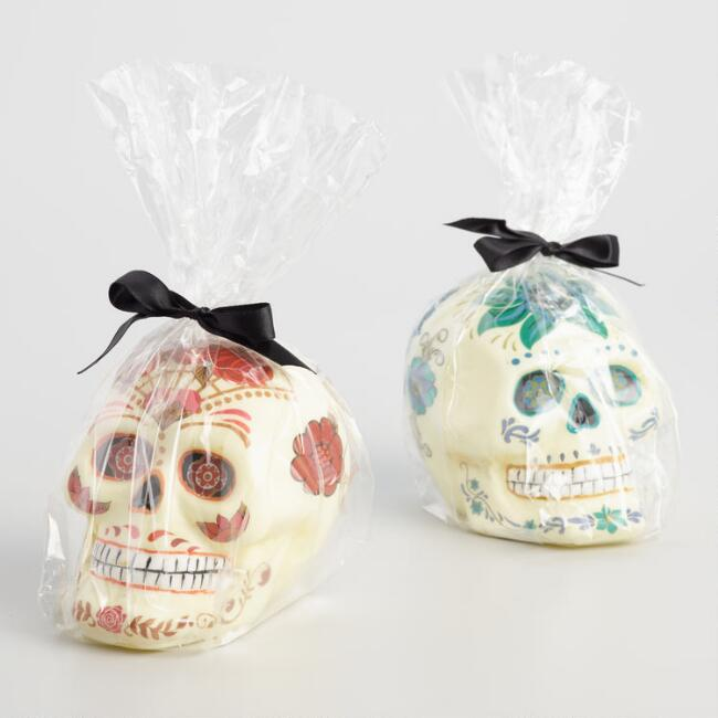 Ivory Los Muertos Skull  Candles Set of 2
