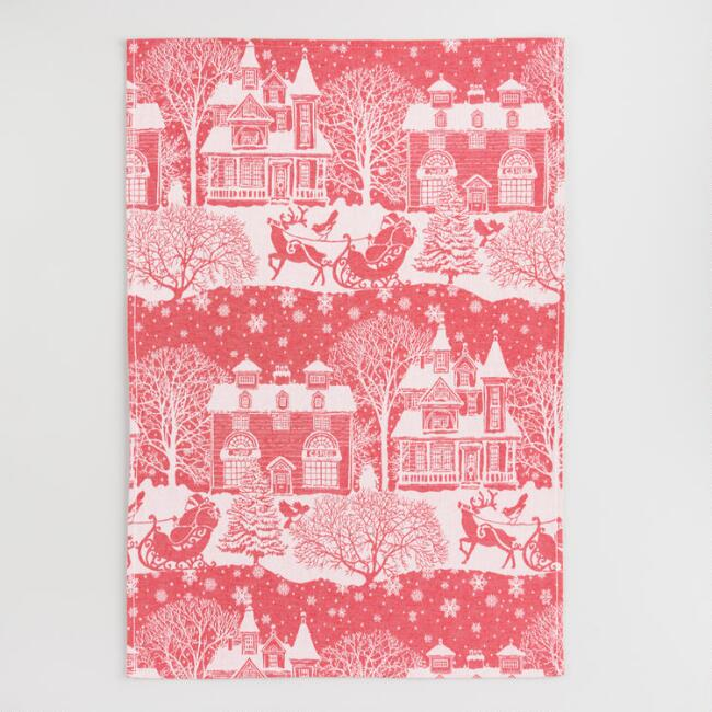 Red and White Santa Jacquard Kitchen Towel