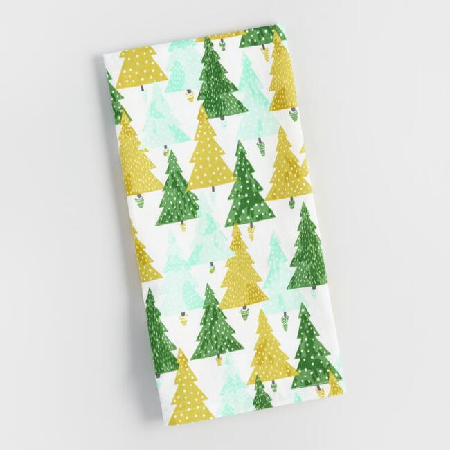 Green Wintry Trees Kitchen Towel