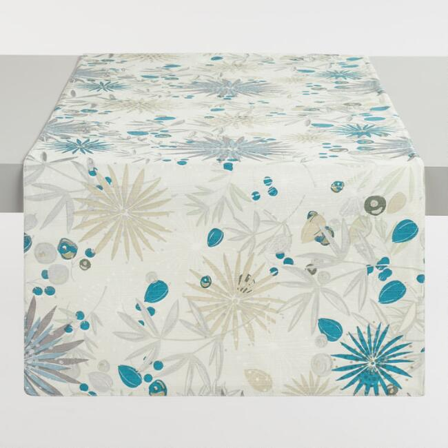 Mint Metallic Winter Floral Table Runner