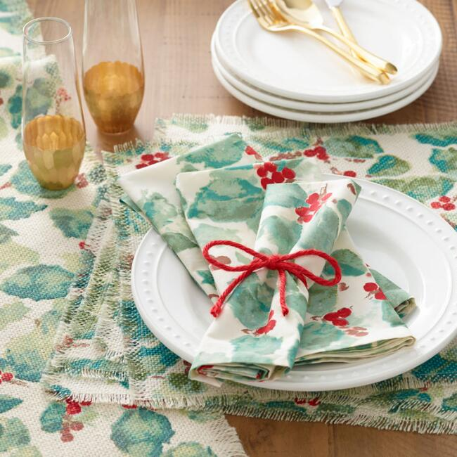 Holly Berry Anastasia Table Linen Collection