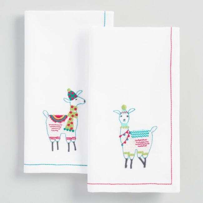 Embroidered Llama Napkins Set of 4