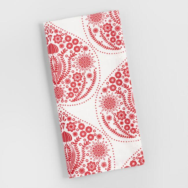 Red Festive Heart Napkins Set of 4