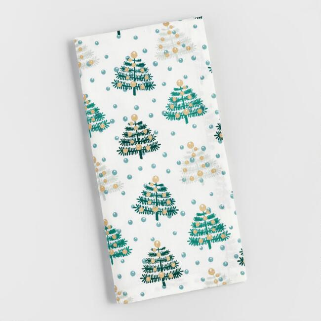 Teal and Gray Snowy Trees Napkins Set of 4