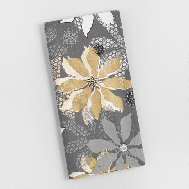 Gray and Gold Poinsettia Napkins Set of 4