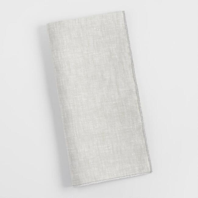 Linen Napkins with Silver Trim Set of 4