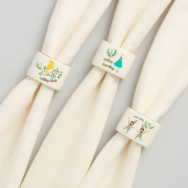 12 Days of Christmas Napkin Rings Set of 12