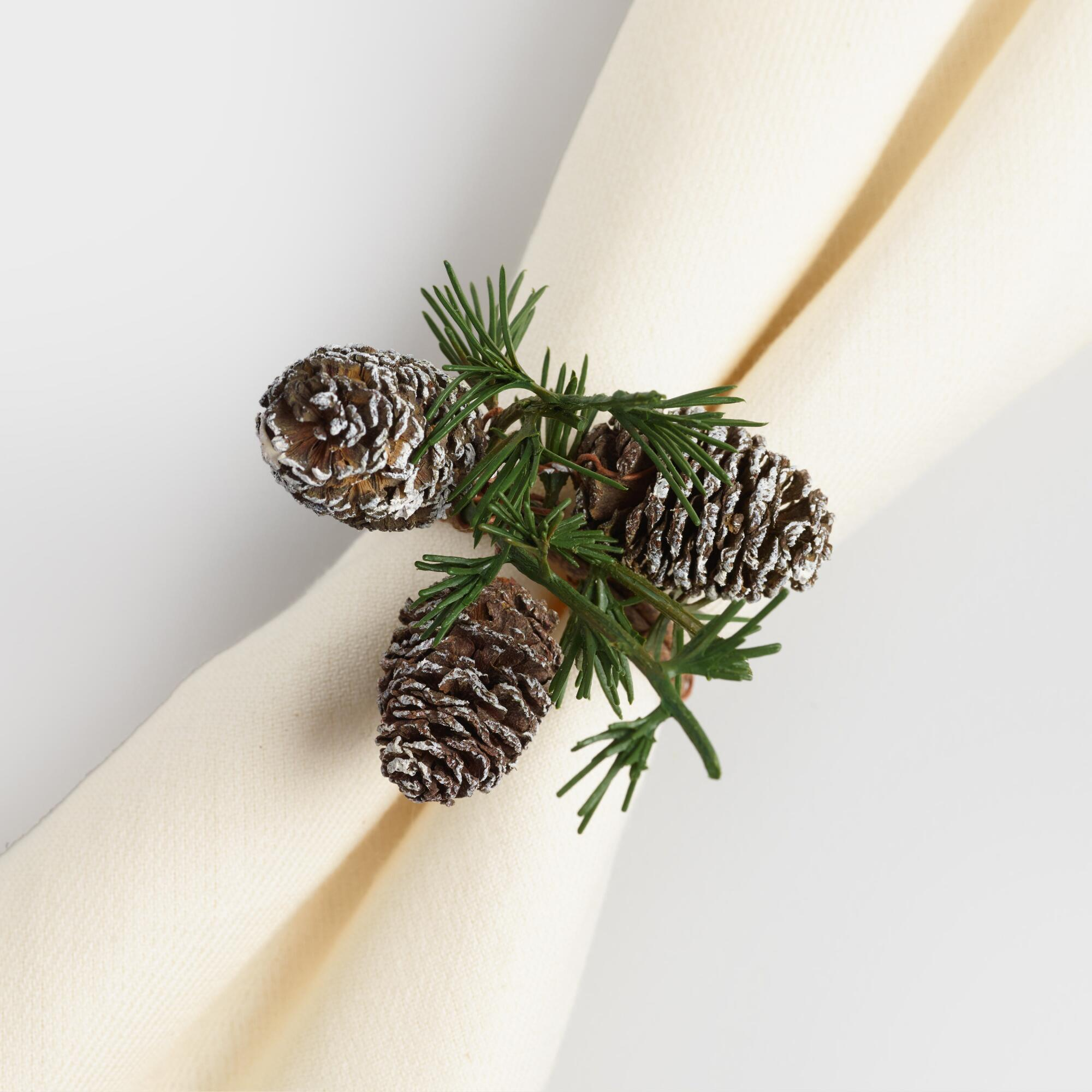 Mini Pinecone Napkin Rings Set of 4: Green by World Market