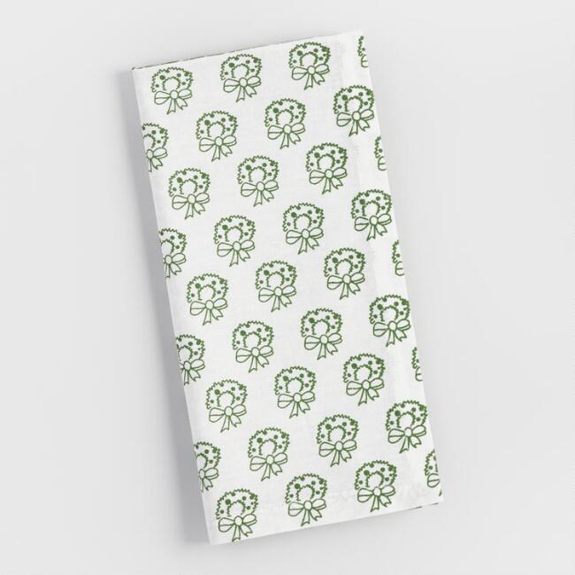 Green Four Way Festive Pattern Napkins Set of 4
