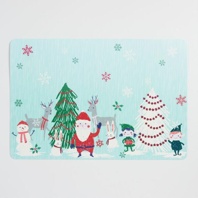 Santa And Friends Wipe Clean Placemat Set of 4