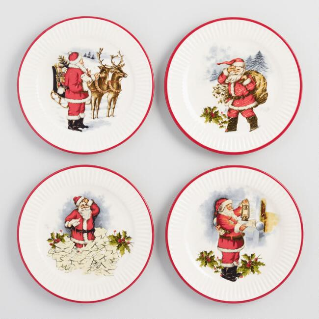 Santa's Workshop Plates Set of 4