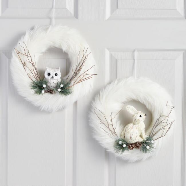 White Faux Fur Wreaths with Owl and Rabbit Set of 2
