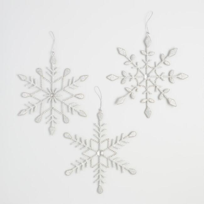 Silver Beaded  Snowflakes Set of 3