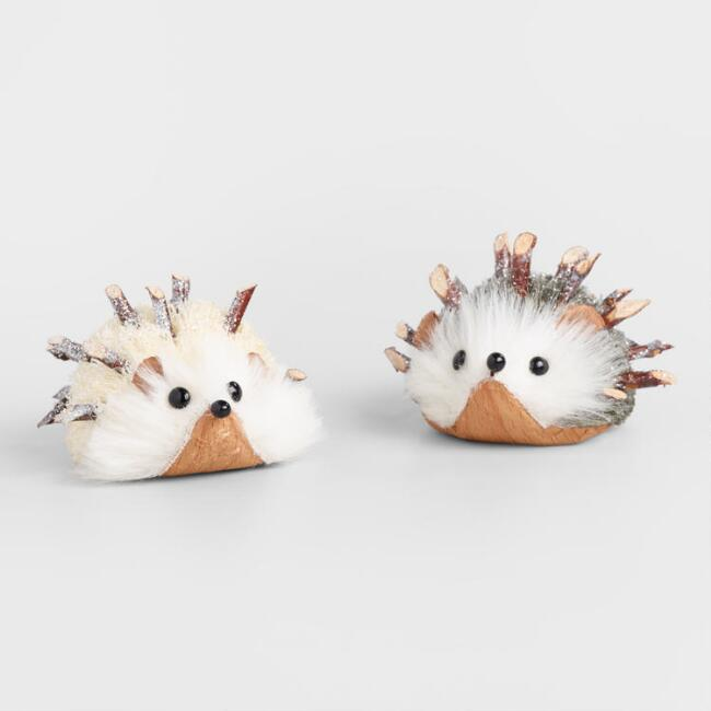 Natural Fiber Frosty Hedgehog Decor Set of 2