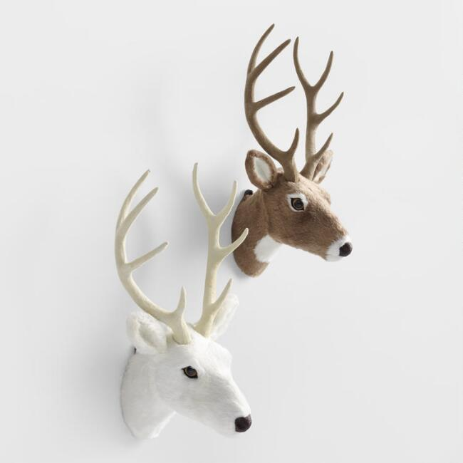 Faux Fur Stag  Bust Wall Decor Set of 2