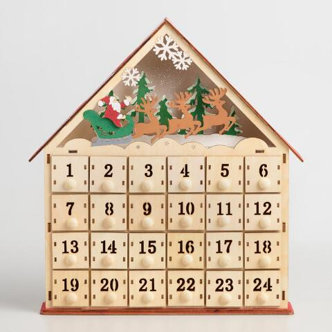 Wood Advent Calendar House With Led Lights Previous V3 V1