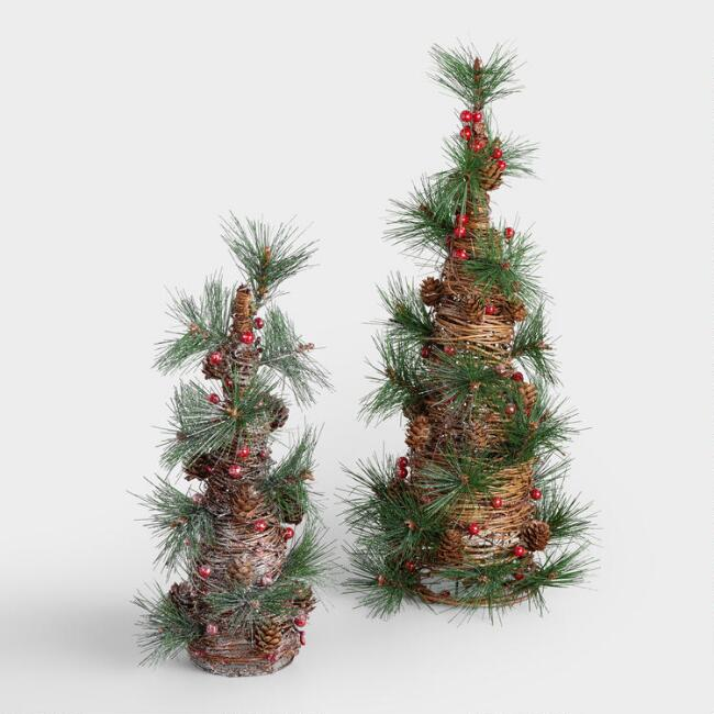 Twig Trees with Pinecones  and Berries