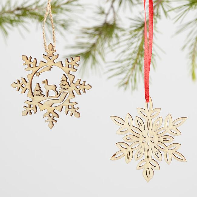 12 Pack Laser Cut Wood Snowflake Boxed Ornaments Set of 2