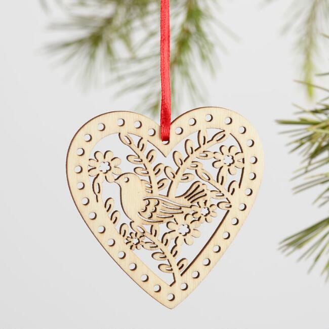 Laser Cut Wood Heart Boxed  Ornaments 12 Pack