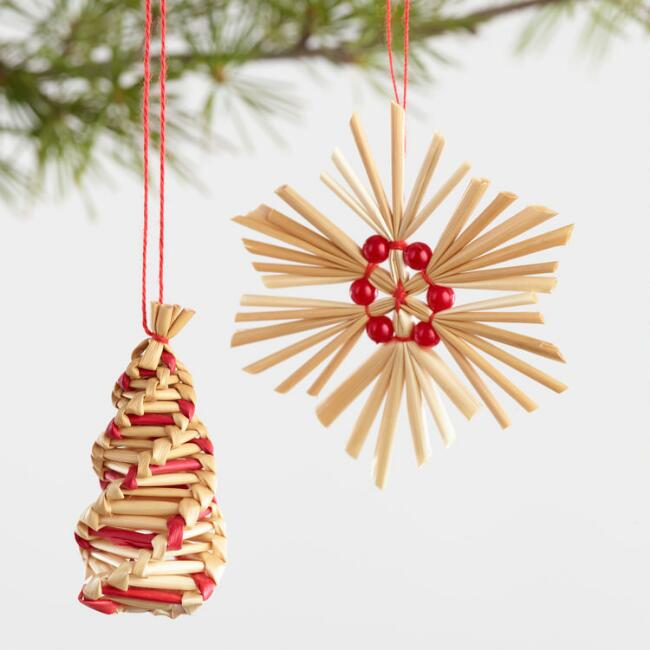 Natural Straw Boxed Ornaments Set of 2