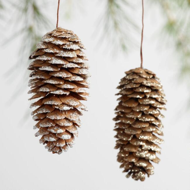 12 Pack Glittered Pinecone Boxed Ornaments Set of 2