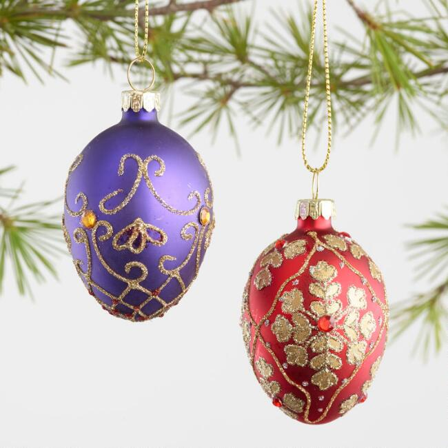 6 Pack Glass Decorative Eggs Boxed Ornaments Set of 2