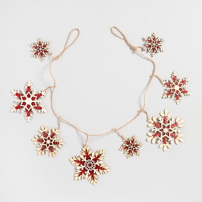 Natural and Red Wood Snowflake Garland