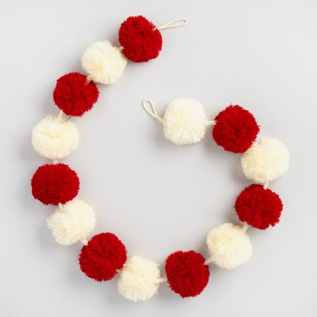 Red and Ivory Pompom Garland