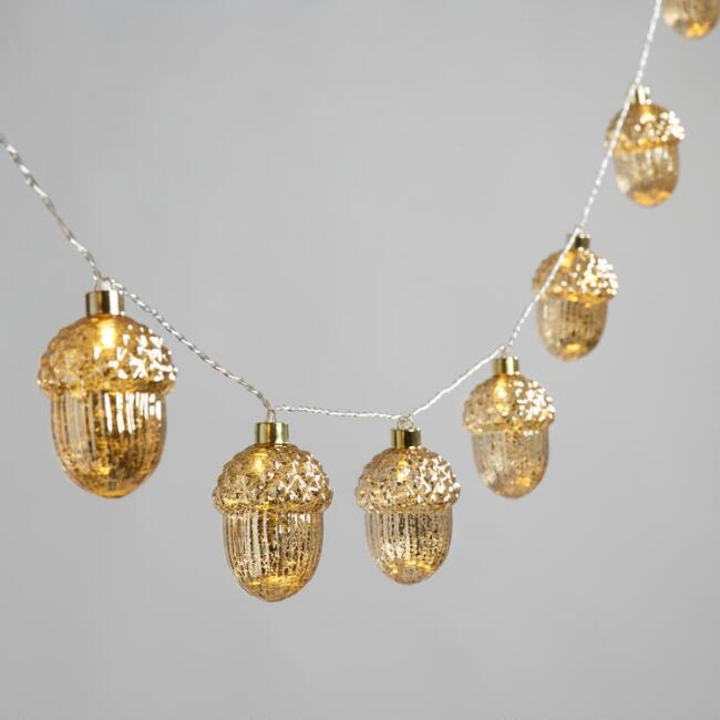 Gold Mercury String Lights : Gold Mercury Acorn 10 Bulb Battery Operated String Lights World Market