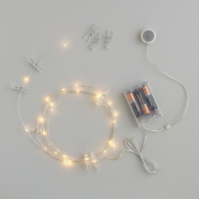 20 Clothespin Clip Micro LED Battery Operated String Lights